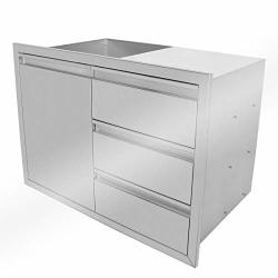 STAINLESS Stanbroil Steel Outdoor Kitchen 36 Inch Steel Storage Access Door And Triple Drawer Combo