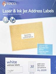 Maco Laser & Ink Jet White Address Labels 1 X 2 5 8 Inches 6000 Labels
