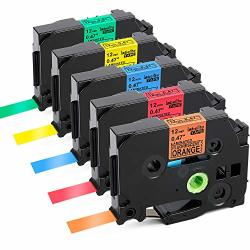 Labelife Compatible Label Tape Replacment For BrOther P Touch Tze Tape 12MM 0.47 Inch Laminated Black On Orange red blue yellow green Compatible With BrOther P-touch D210 D400