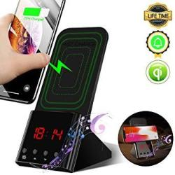 Wireless Charger Stand Digital Alarm Clock 10W Qi Wireless Charging Dock Station Wireless Charger Phone Holder For Iphone XS Max