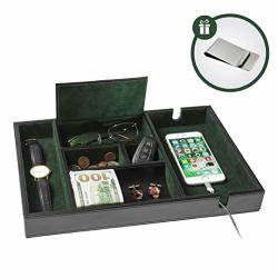 Valet Homesteo Tray 6 Compartments Bedroom Organizer With Charging Station Perfect For Men And Women Black Pu Leather Decorative Gift Box Money Clip Free Green