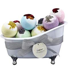 Bath Bombs Gift Set For Women 10 Oversized Two Tone Colorful Bath Fizzies With Shea & Coco Butter Dry Flower Petals Ultra Lush S