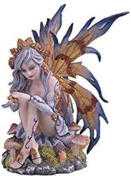 Stealstreet SS-G-91473 Silver Fairy With Gray Hair And Flowers And Brown Wings Statue