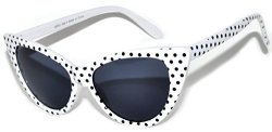 OWL Cat Eye Sunglasses White Black Dot Smoke Lens