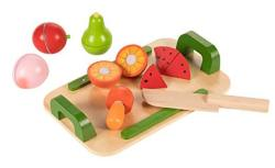 Juvale Cutting Fruit Play Set - 15-PACK Kids Wooden Pretend Play Food Kitchen Tools Chopping Board And Play Knife Playhouse Toys