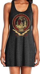 Amdesco Ladies America's Original Motorcycle Indian Skull Casual Racerback Tank Dress Black XL