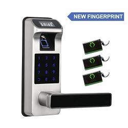 NEWEST Fingerprint And Touchscreen Keyless Smart Lever Door Lock For Office Home 2020 New Model Sliver