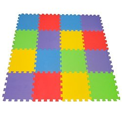 16 Piece X-large Foam Soft Tile Mat Ideal Gift Toy Child & Baby Room Safe Playmat Interlocking Puzzle Multi Color Flooring Eva F
