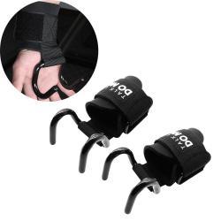 Aolikes 2PCS Plastic Nylon Adjustable Breathable Fitness Grip Hook Wrist Support Sports Pull-up Hook Wrist Belt