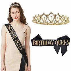 ADBetty Birthday Queen Sash & Rhinestone Tiara Kit - 15TH 16TH 17TH 18TH  21ST 22ND 25TH 30TH Birthday Sash Birthday Gifts Party | R835 00 |