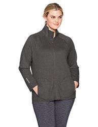 Just My Size Activewear Just My Size Women's Plus Size Active Full-zip Mock Neck Jacket Granite Heather 3X