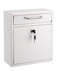 AdirOffice Locking Drop Box Wall Mounted Mailbox Medium White