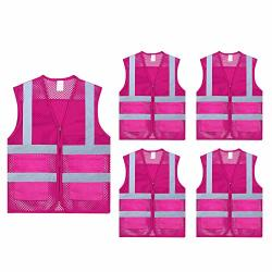 TopTie Pack Of 5 Whole Unisex Volunteer Vest Safety Reflective Running Cycling Vest With Pockets-hot Pink-l