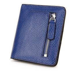 S-ZONE Women's Genuine Leather Rfid Blocking Bifold Pocket Small Wallet Coin Holder Blue