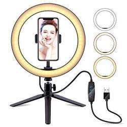 "10"" Selfie Ring Light With Tripod Stand & Cell Phone Holder Latzz Dimmable Desktop LED Lamp Camera Ringlight For Live Stream mak"