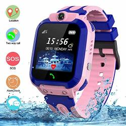 SZBXD Kids Waterproof Smart Watch Lbs gps Tracker Touchscreen Sos Anti-lost Camera Alarm Clock Voice Chat Games Smartwatch Phone Birthday Gifts For Children Girls Boys Pink