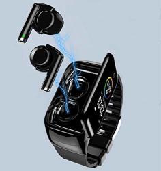 M7 Pady 2 In 1 Smart Bracelet Wireless Bluetooth Headset Combo Running Music Wristband Earphone Heart Rate Blood Pressure Fitness Tracker Black