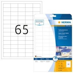 Herma 4388 38.1X21.2MM Colour Laser Paper Rectangular Deep Freeze Labels - Matte White 1625 Labels 65 Per Sheet
