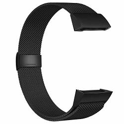 Poy Compatible For Fitbit Charge 3 Bands Replacement Wristbands For Charge 3 Se Fitness Activity Tracker Metal Stainless Steel Bracelet Strap With Unique Magnet