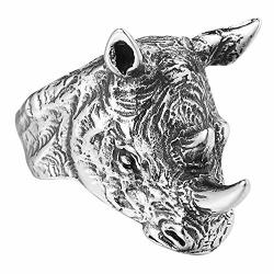 Ajzyx Punk Tribal Biker Rhinoceros Head Rings Sharp Angle Crucifixus Titanium Steel Band For Men Boy Size 12