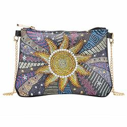 Ddark Diy Sun Fower Shaped Diamond Painting Wallet Diamond Painting Bag Women