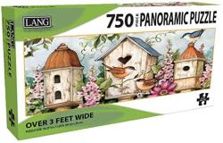 """USA Lang - 750 Piece Panoramic Puzzle -""""birdhouse Garden"""" Artwork By Sn Winget - Linen Finish - 38.25 X 11.25 Completed"""