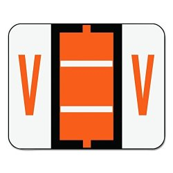 Smead 67092 A-z Color-coded Bar-style End Tab Labels Letter V Dark Orange 500 Per Roll