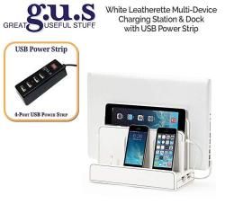 G.u.s. Multi-device Charging Station Dock & Organizer - Multiple Finishes Available. For Laptops Tablets And Phones - Strong Build White Leatherett