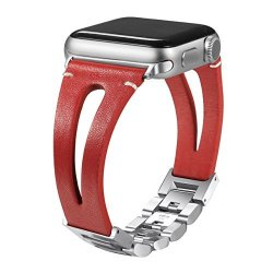 Secbolt Leather Bands For Apple Watch Band 42MM Red Handmade Vintage Fashion Leather Strap With Adjustable Stainless Steel Clasp