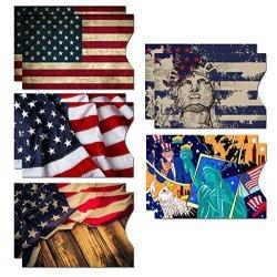 DEEZOMO Rfid Blocking Sleeves 10 Rfid Blocking Sleeves 5 Unique Designs Identity Theft Protection Travel Case Set American Element Side Load