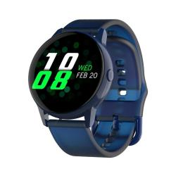 DT88 1.22 Inch Full Circle Full Touch Silicone Strap Smart Sport Watch IP68 Waterproof Support Real-time Heart Rate Monitoring Sleep Monitoring Bluetooth Alarm Clock Blue