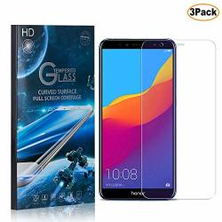 Cusking Huawei Y6 2018 Screen Protector Tempered Glass 9H Hardness Abrasion Resistance Anti Scratch Screen Protector For Huawei Y6 2018 3 Pack