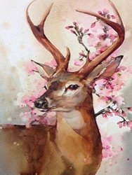 Finecase Diy 5D Diamond Painting Set Full Drill Diamond Painting Crystal Rhinestone Embroidery Pictures Arts Craft Cross-stitching Set For Home Wall Decor Sika DEER-12X16 LU002
