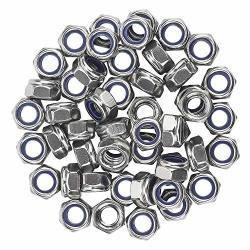 Favordrory M8 X 1.25MM 304 Stainless Steel Self-lock Nylon Inserted Hex Lock Nuts Self Clinching Nuts 50 Pcs