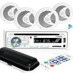 Marine Stereo Receiver Speaker Kit - In-dash Lcd Digital Console Built-in Bluetooth & Microphone 6.5 Waterproof Speakers 4 W MP3