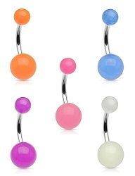 Forbidden Body Jewelry Value 5 Pack Glow In The Dark Surgical Steel Belly Rings Purple Blue Orange Pink White R590 00 Fancy Dress Costumes