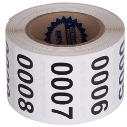 """Consecutively Numbered Labels Self Adhesive Durable Vinyl- Measure: 2"""" X 1"""" By Kenco Roll 001-500"""