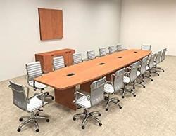 Modern Boat Shaped 18' Feet Conference Table OF-CON-C76