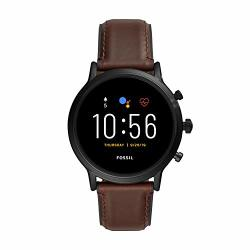 Gen Fossil 5 Carlyle Hr Heart Rate Stainless Steel And Leather Touchscreen Smartwatch Color: Black Brown Model: FTW4026