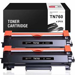 Ziprint With Chip Compatible Toner Cartridge Replacement For Brother TN760 Tn 760 TN730 For HL-L2350DW MFC-L2710DW DCP-L2550DW MFC-L2750DW HL-L2395DW HL-L2370DW HL-L2390DW Black 2-PACK