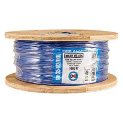 Vertical Cable Fire Alarm Cable 18 Awg 2 Conductor Solid Unshielded Fplr Riser 1000FT Spool Blue - Made In Usa