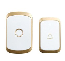 Iusun Wireless Doorbell Remote Control Doorbell Button Chime Door Bell Gate Alarm Doorbell With 36-MELODY For Home Office Shop Store Gold