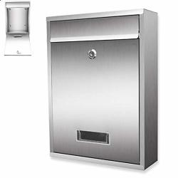 Alxlx Modern Wall Mount Mailbox Outdoor Lockable Stainless Steel Mailbox Large Capacity Post Box Letterbox For Commercial Rural Porch Office Business Size : 26X8.5X35CM