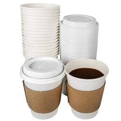 Tashibox 12 Oz Disposable Coffee Cups With Lids And Sleeves Paper Hot Cup - 108 Sets