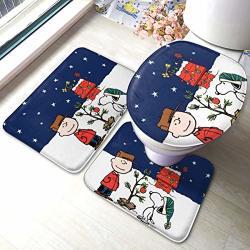 Christmas Cartoon Snoopy Bath Mat 3 Piece Set Bathroom Carpet Set Soft Anti-skid Pads Bath Mat + Contour Pads + Toilet Lid Cover Absorbent