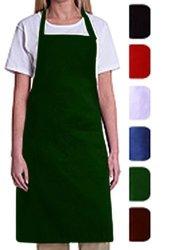 Bib Aprons-mhf APRONS-1 Piece PACK-2 Waist Pockets- New Spun Poly-commercial Restaurant Kitchen- Green