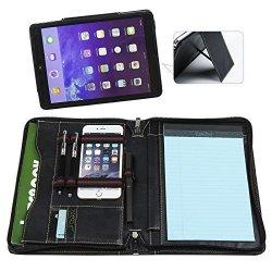 free shipping cd6dd 22805 Reenice Goatskin Portfolio Organizer Padfolio Leather Folder With Ipad  Kickstand Personalized Card Holder Case A5 Size For Ipad   R3210.00    Office ...
