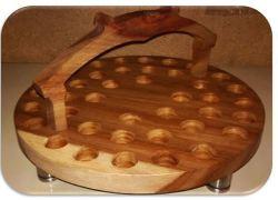 40 Hole Kiaat Wooden Communion Tray No Glasses