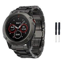 Dreamyth Fashion New Titanium Steel Bracelet Wrist Strap Smart Watch Band For Garmin Fenix 5X Gps Black