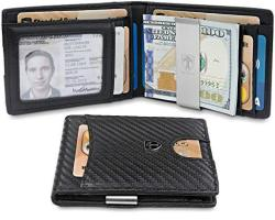 TRAVANDO Slim Wallet With Money Clip Seattle Rfid Blocking Card MINI Bifold Men Carbon